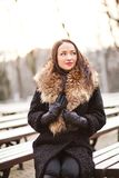 Lady manager. Young professional lady in the park is enjoying winter Stock Photography
