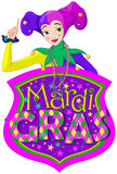 Lady & Mardi Gras Sign Royalty Free Stock Photo