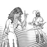 Lady Marian and Robin Hood. Medieval legend. Medieval woman. A girl pointing a finger. A woman explaining something. Lady Marian and Robin Hood. A girl pointing Royalty Free Stock Image