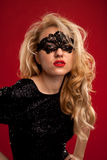 Lady in mask. Beautiful lady in mask with red lips black and white portrait Royalty Free Stock Photos
