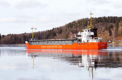 Lady Mathilde. Sodertalje, Sweden - February 19, 2017:  Vessel LADY MATHILDE IMO: 9115975  a general cargo ship. Gross tonnage is 2561 tons, length of 88 m and Royalty Free Stock Photos
