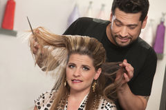 Lady med hårproblem Arkivfoto