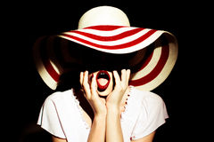 Lady med hatten royaltyfri fotografi