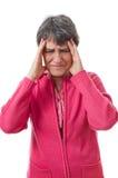 Lady med huvudvärk arkivfoto