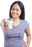 Lady With Milk Royalty Free Stock Photo