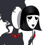 Lady-mirror with black-white mask Royalty Free Stock Images