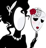 Lady mirror with mask. Abstract black silhouette of lady mirror with mask Stock Image