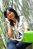 Lady with Mobile Phone Stock Photography