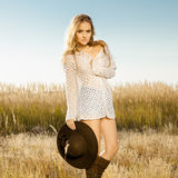 Lady model on meadow - outdoors shot Royalty Free Stock Image