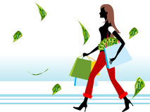 Lady with money and shopping bags. On isolated background Stock Images