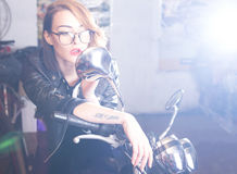 Lady with motorcycle Stock Photo