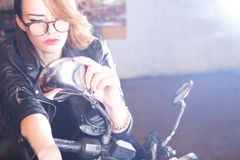 Lady with motorcycle Royalty Free Stock Image