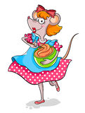 Lady mouse. Mixing pastry for a cake Stock Photo
