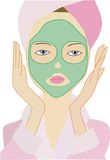 Lady with mud mask Stock Photos