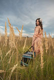 Lady musician with accordion stock photography