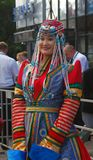 Lady in national costume at Moscow Film Festival Royalty Free Stock Photos
