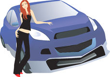 Lady new car Stock Images