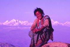 Lady and  Nepal Himalaya Stock Photography