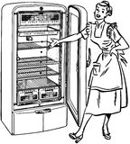 Lady With New Fridge Stock Images