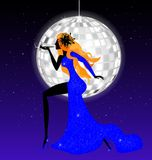 Lady-night in blue. On an abstract blue background is stylish lady in blue Stock Images