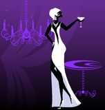 Lady-night in white. On an abstract purple background is stylish lady in white Stock Photo