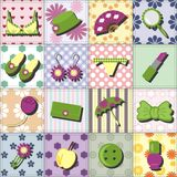 Lady objects on patchwork background Stock Photos