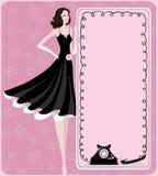 Lady och retro telefon Fotografering för Bildbyråer