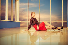 Lady at office building floor Stock Images