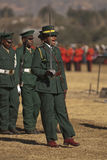 Lady Officer leading platoon. A women officer of the Lesotho Defense Force leads a platoon of male soldiers at H.R.H King Letsie's Birthday Parade in Lesotho Stock Photography