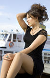 Lady On Mooring Royalty Free Stock Images