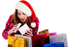 Lady Opening Christmas Gift Box Stock Photos