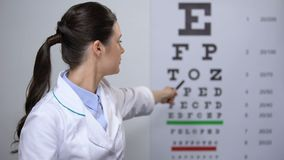 Lady ophthalmologist satisfied with eyesight eyechart test results, good vision. Stock footage stock video footage