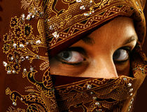 Lady in ornate burqua. Lady, eyes only dressed in an ornate red burqua Royalty Free Stock Images