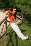 Lady outdoor stretching  Stock Images