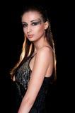 Lady på mörkerbakgrund Royaltyfri Foto