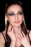 Lady på mörkerbakgrund Fotografering för Bildbyråer