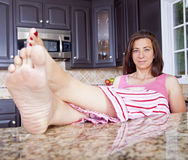 Lady in pajamas Royalty Free Stock Images