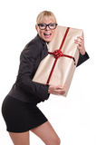 Lady with parcel Royalty Free Stock Photos