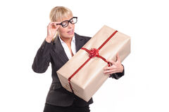 Lady with parcel Stock Photo