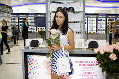 Lady at Parfume exhibiton Stock Photography