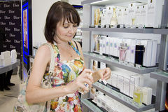 Lady at Parfume exhibiton Stock Image