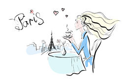 Lady and Paris Royalty Free Stock Photo