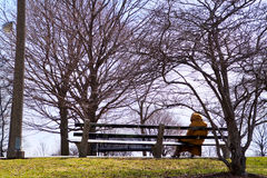 Woman sitting on park bench in Chicago park district recreation area along Lake Michigan lakefront. Elderly lady relaxing on a park bench in a city park on a royalty free stock photo