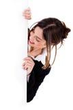 Lady Peeping A Blank Board Stock Photo