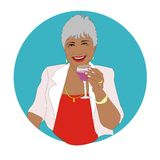 Lady pensioner. Happy retired lady with a glass of wine Stock Photography