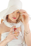 Lady with perfume Royalty Free Stock Images