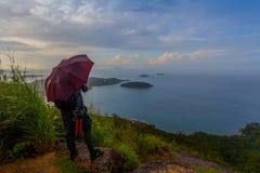 Lady on Pha Hin Dum viewpoint Stock Photo