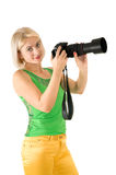 The lady - photographer Stock Photos