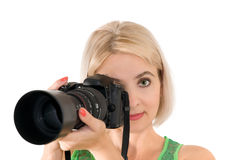 The lady - photographer Stock Images