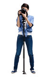 Lady-photographer takes images Stock Photo